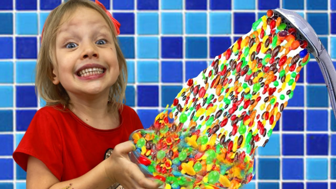 Alex and Nastya Pretend Play a Magical Candy Shower