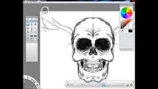 Badass Skull Tattoo (SketchBook Pro 2011[Speed Draw])