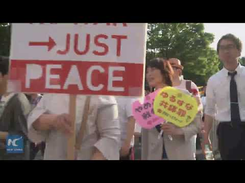 Japanese protest against Shinzo Abe''s attempt to change constitution