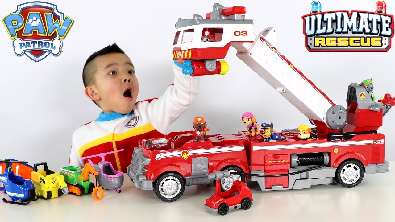 New Paw Patrol Ultimate Rescue Fire Truck Toys Unboxing With Ckn Toys Youtube