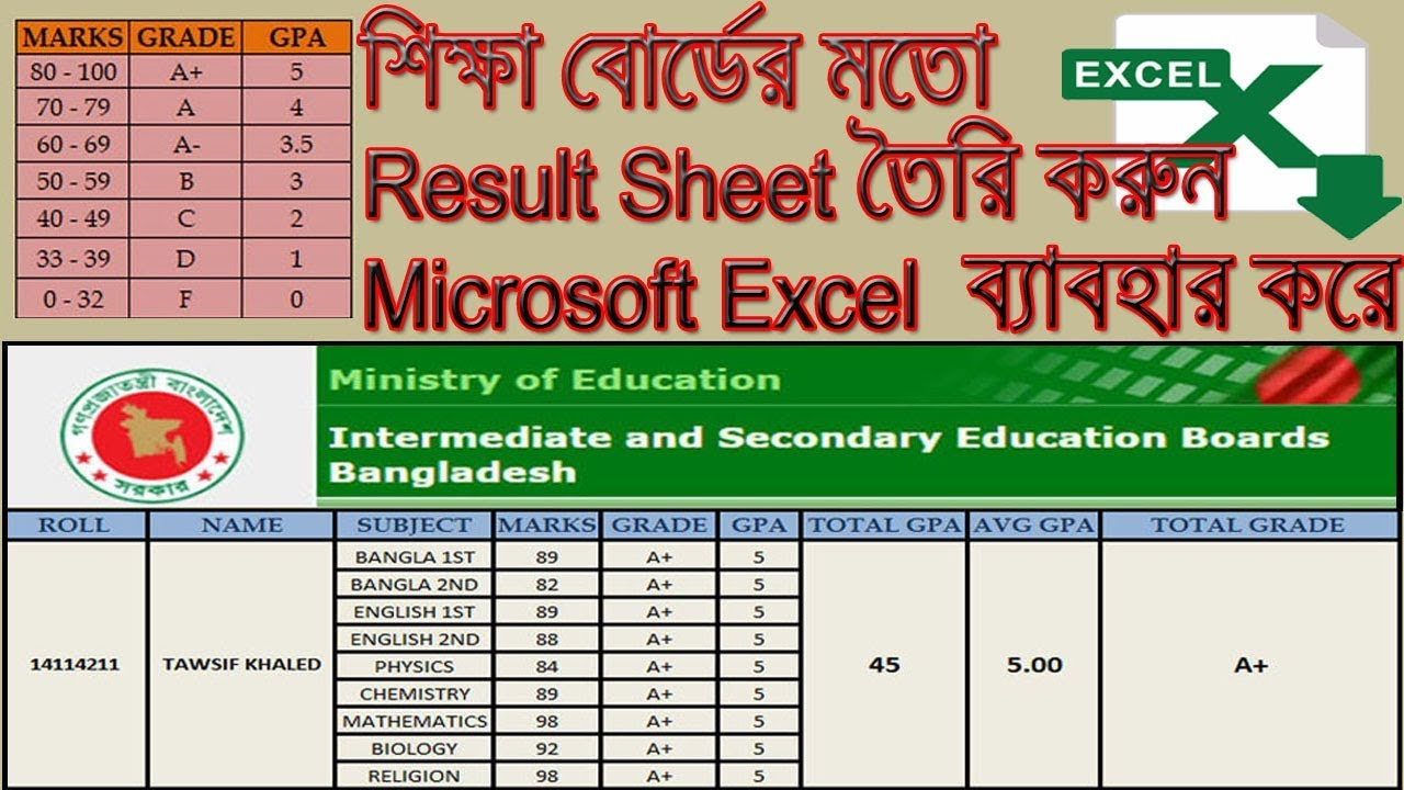How to Create Student Result Sheet/Grade Sheet in MS Excel Bangla Tutorial  2019 - Excel Result Sheet