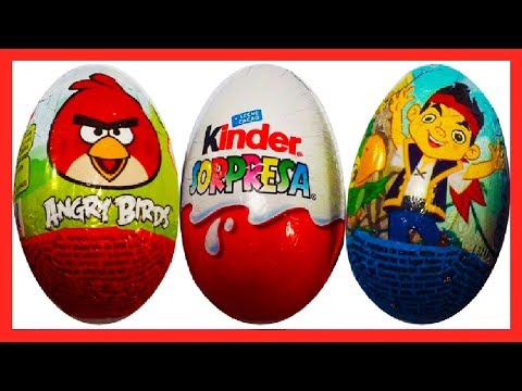 3 HUEVOS SORPRESA, JAKE Y LOS PIRATAS DE DISNEY, ANGRY BIRDS Y  KINDER GO MOVE 2014. SURPRISE Travel Video