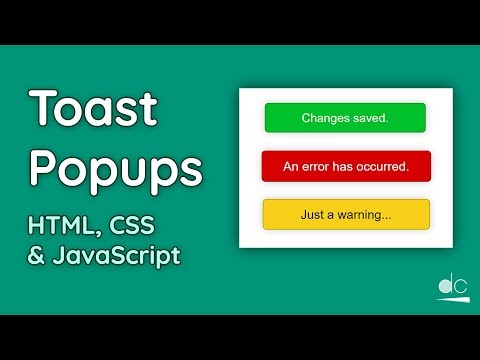 How to Create Toast Notifications (or Popups) - HTML, CSS & JavaScript Tutorial thumbnail