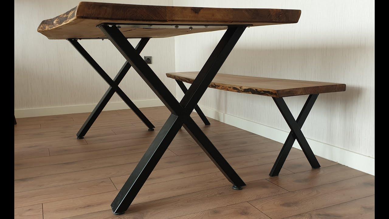 Kütük  masalara demir profilden ayak yapımı