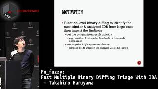 #HITB2019AMS D1T2 - fn_fuzzy: Fast Multiple Binary Diffing Triage With IDA - Takahiro Haruyama