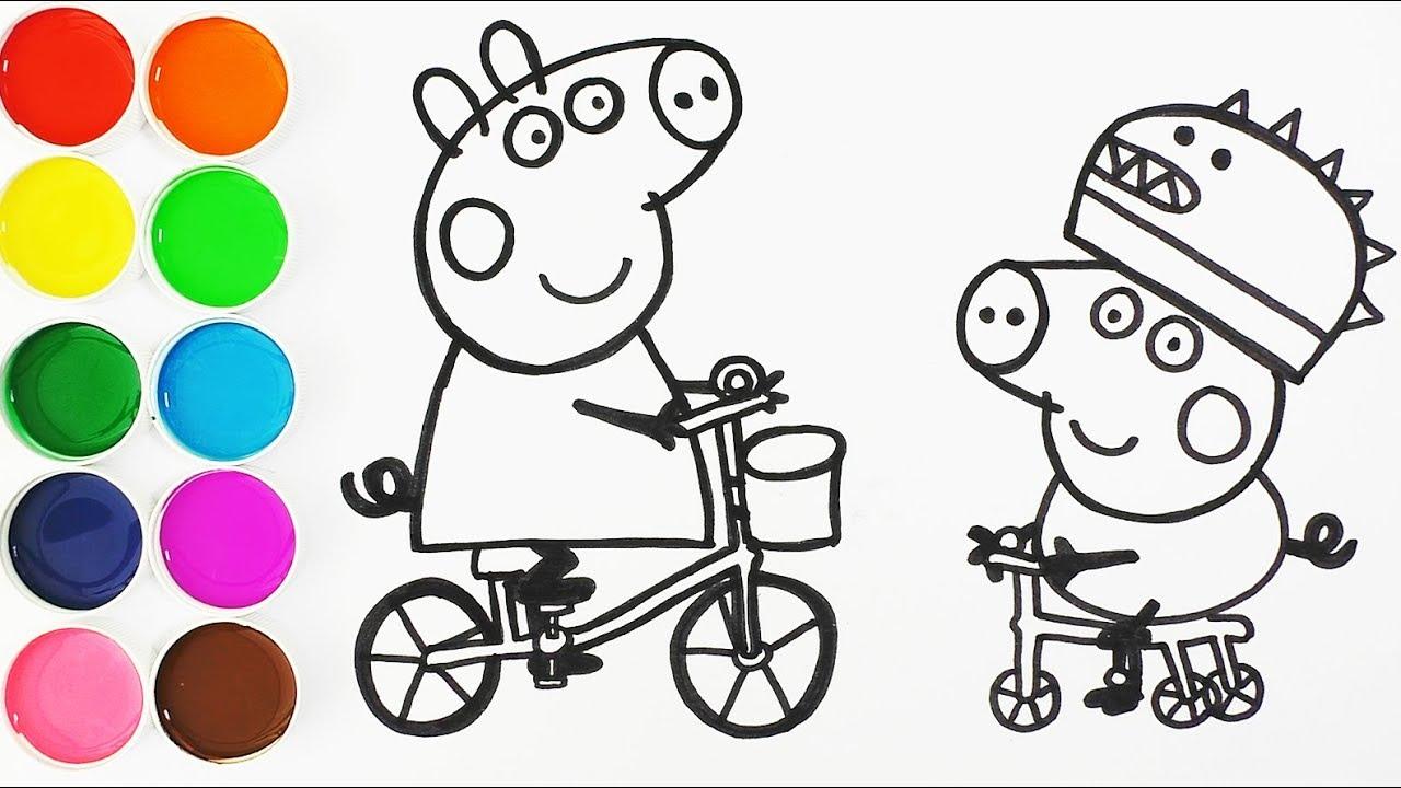Como Dibujar Y Pintar A George Y Peppa Pig En Bicicleta Dibujos