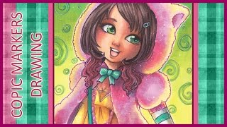 Copic Markers Drawing - Bubble Gum (Cute Colorful Girl)