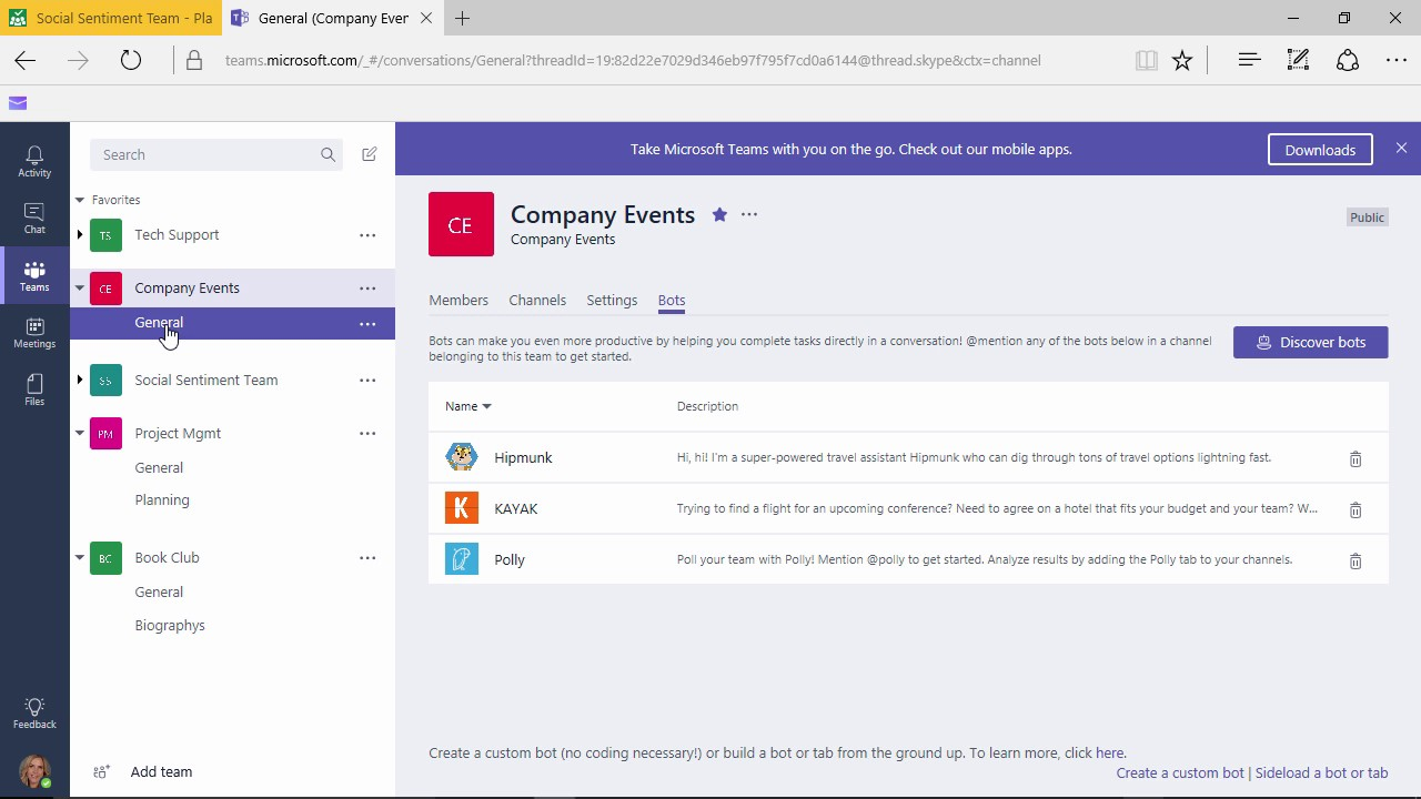 Microsoft Teams - Working with Bots