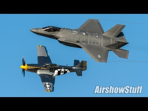 USAF F-35 and P-51 Heritage Flight and Flybys - Airshow London 2017