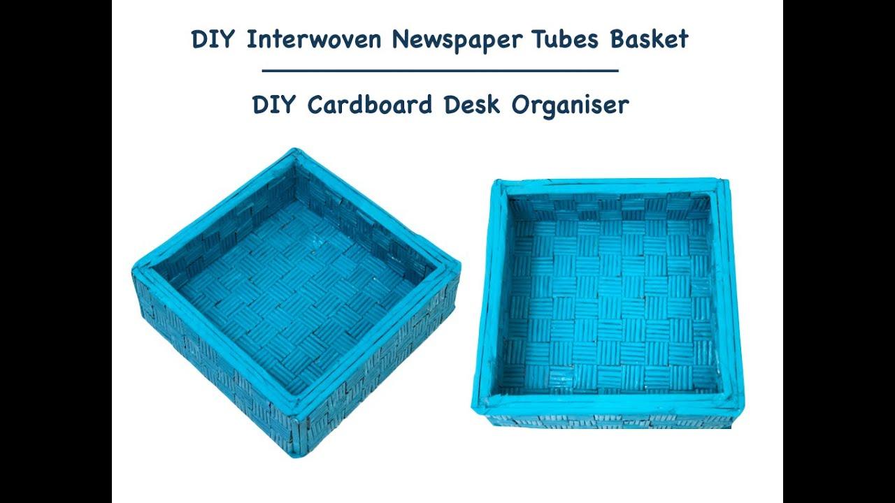 DIY woven #NewspaperTube Basket without weaving | DIY #Cardboard Box Storage | #Organisation Ideas