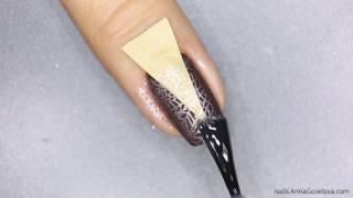 French manicure with matte accent / Коричневый маникюр с матовым акцентом и стемпингом