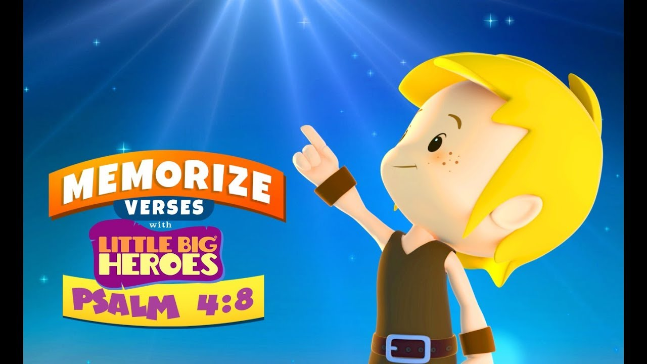 Psalm 4:8 – Memorize verses for kids with Little Big Heroes
