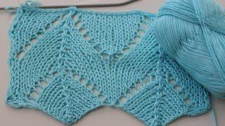 Вязание спицами: простой,ажурный узор.