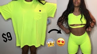 DIY $9 Oversized T-Shirt to Two Piece Set | Clothing Hacks | DIY Clothing Transformations