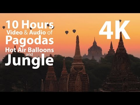 4K UHD 10 hours - Hot Air Balloons over Thai Pagodas, Jungle Audio & occasional bells - ambience