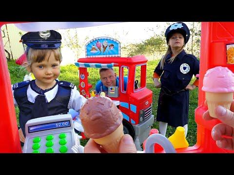 НастяПлей  и Марго играют с Папой в Фургончик Мороженого