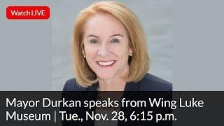 Mayor Jenny A. Durkan speaks from Wing Luke Museum