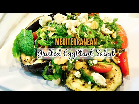 Mediterranean Grilled Eggplant Salad Recipe | ThymeWithApril