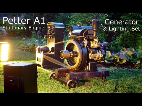Vintage Engine - Petter A1 Stationary Engine & Homemade Generator - How To Start A Petter A1