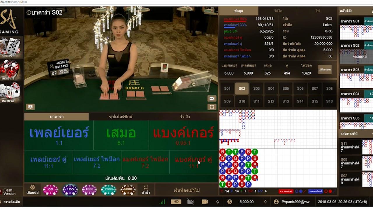 การเล่นคาสิโน SA Gaming - YouTube