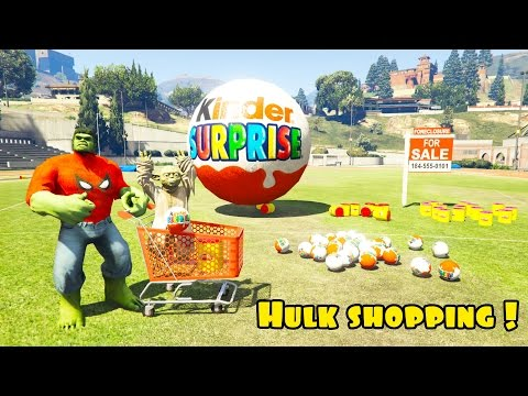 Thumbnail: Baby Hulk shopping surprise eggs and play doh with police Spiderman Funny cartoons for kids