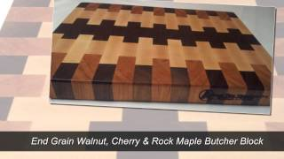 End Grain Butcher Block Cutting Board Walnut Cherry Any Maple