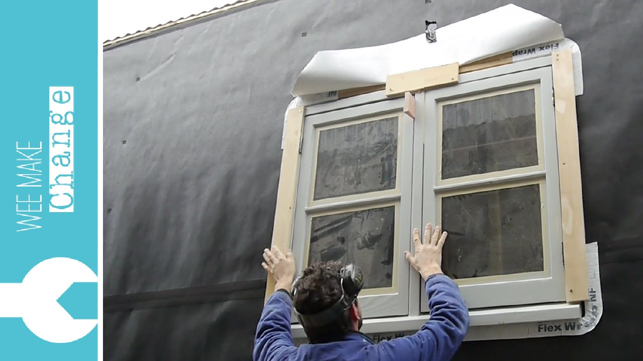 How to install window flashing tape - How To Install An Old Wooden House Window Tiny House Project