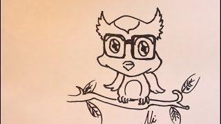 Karikatür Baykuş Sevimli Hayvan Çizim Öğretici + Karikatür Sanat Eğitimi