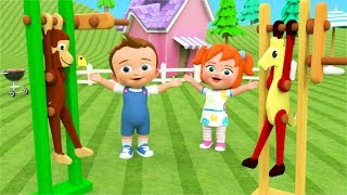 Toddler Learning Videos - Little Baby & Girl Fun Play Wooden Acrobat Toys Animals 3D Kids Learning