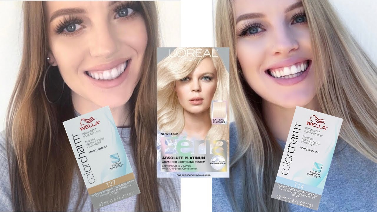 Brunette To Blonde At Home With Loreal Platinum Advanced Box Dye Toning With Wella T14 Wella T27