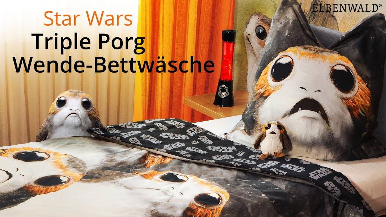 star wars knuffige porg bettw sche youtube. Black Bedroom Furniture Sets. Home Design Ideas