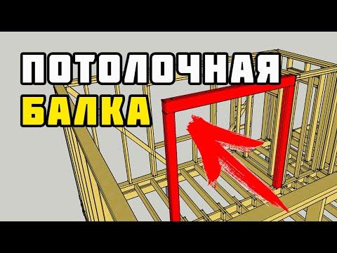 Строительство каркасного дома 8х10 м своими руками. Часть 8. Потолочная балка