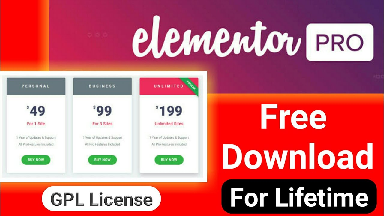 Elementor Pro Plugin Free Download With License For ...