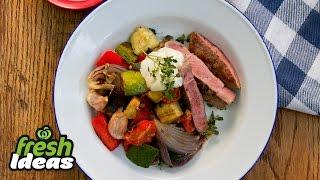 Lamb Steaks With Mediterranean Vegetables & Aioli