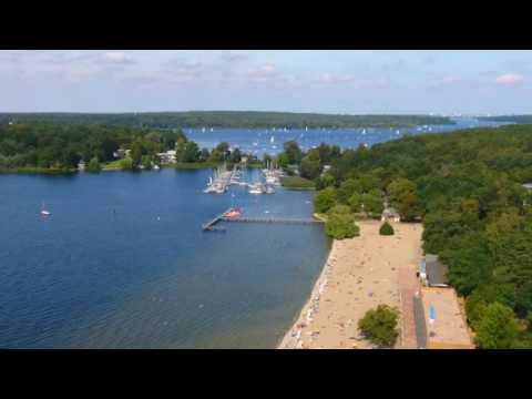 Drone Footage of Strandbad Wannsee Beach Area, Berlin, Germany