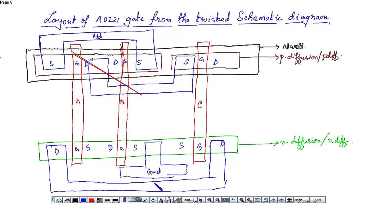 Schematic diagram and layout of And Or Invert (AOI) gate - YouTube