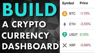 Full tutorial - Build a Crypto Currency Dashboard (Coinmarketcap clone)