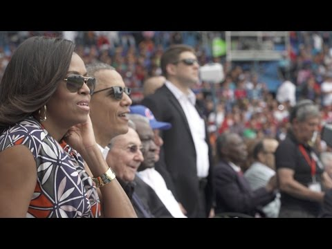 The First Family Takes in a Baseball Game in Havana, Cuba