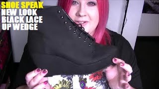 Shoe Speak - New Look Black Lace Up Wedge Ankle Boots (Jeffrey Campbell 99 Tie dupe?)