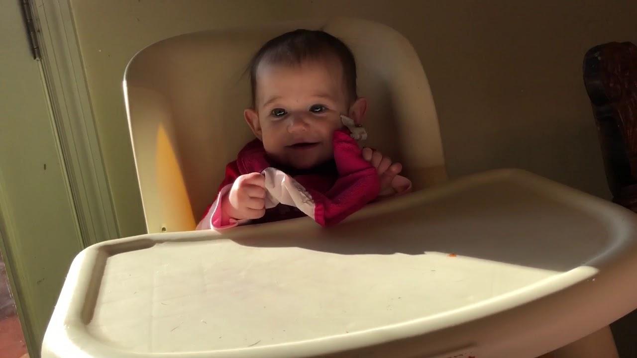 Sweet baby girl eating her carrots - YouTube