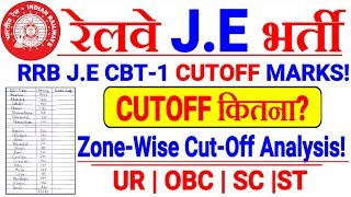 RRB JE CBT-1 CUTOFF MARKS 2019//RRB JE CBT1 ZONEWISE CUT-OFF 2019