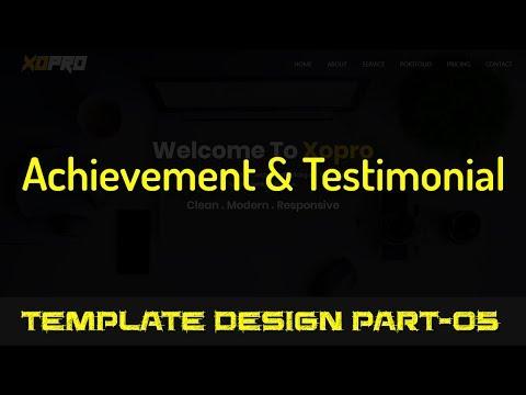 HTML Template Design Part 05 - Achievement & Testimonial Section Design (Parallaxie & Owl Carousel)