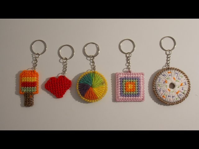 How to make a plastic canvas 5 different idea key-rings