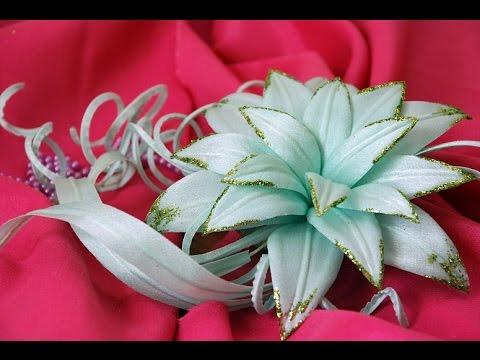 Лилия цветок из ткани своими руками на ободке. Мастер класс. Елена Шевченко.
