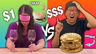 Guessing CHEAP vs EXPENSIVE Food!! BLIND TASTE TEST CHALLENGE