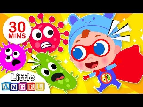 Super Baby John Defeats Germs | +More Nursery Rhymes & Kids Songs by Little Angel