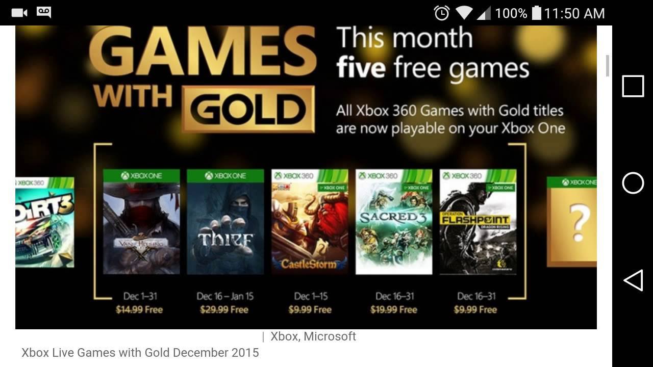 Free Games With Gold Xbox One And Xbox 360 December 2015 Hd