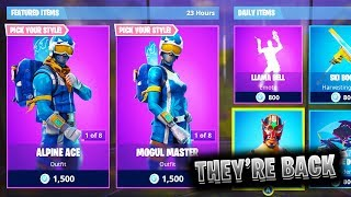 """ALPINE ACE"" and ""MOGUL MASTER"" SKINS *RETURN* TO FORTNITE! *Skii SKINS BACK in FORTNITE!"