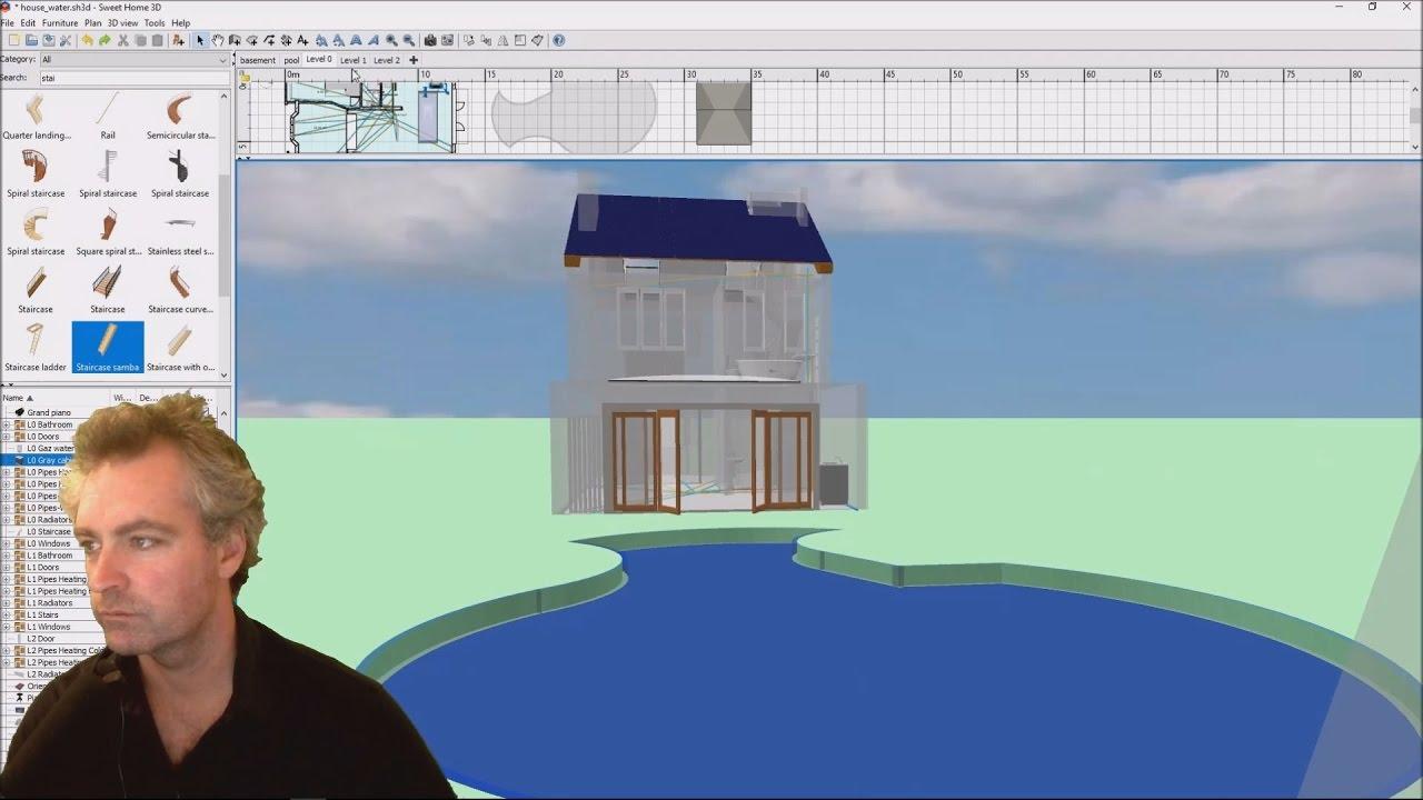Create A Swimming Pool In Sweet Home 3D Youtube | Sweet Home 3D Custom Stairs | Mural | Mezzanine | Interior Design | Mezzanine Floor | 3D Models