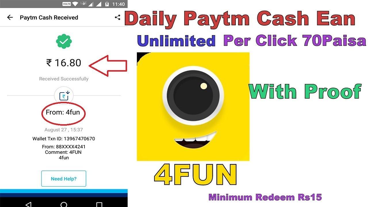 4Fun App (Payment Proof) Per Click ₹0.70 Pisa | Redeem Rs15